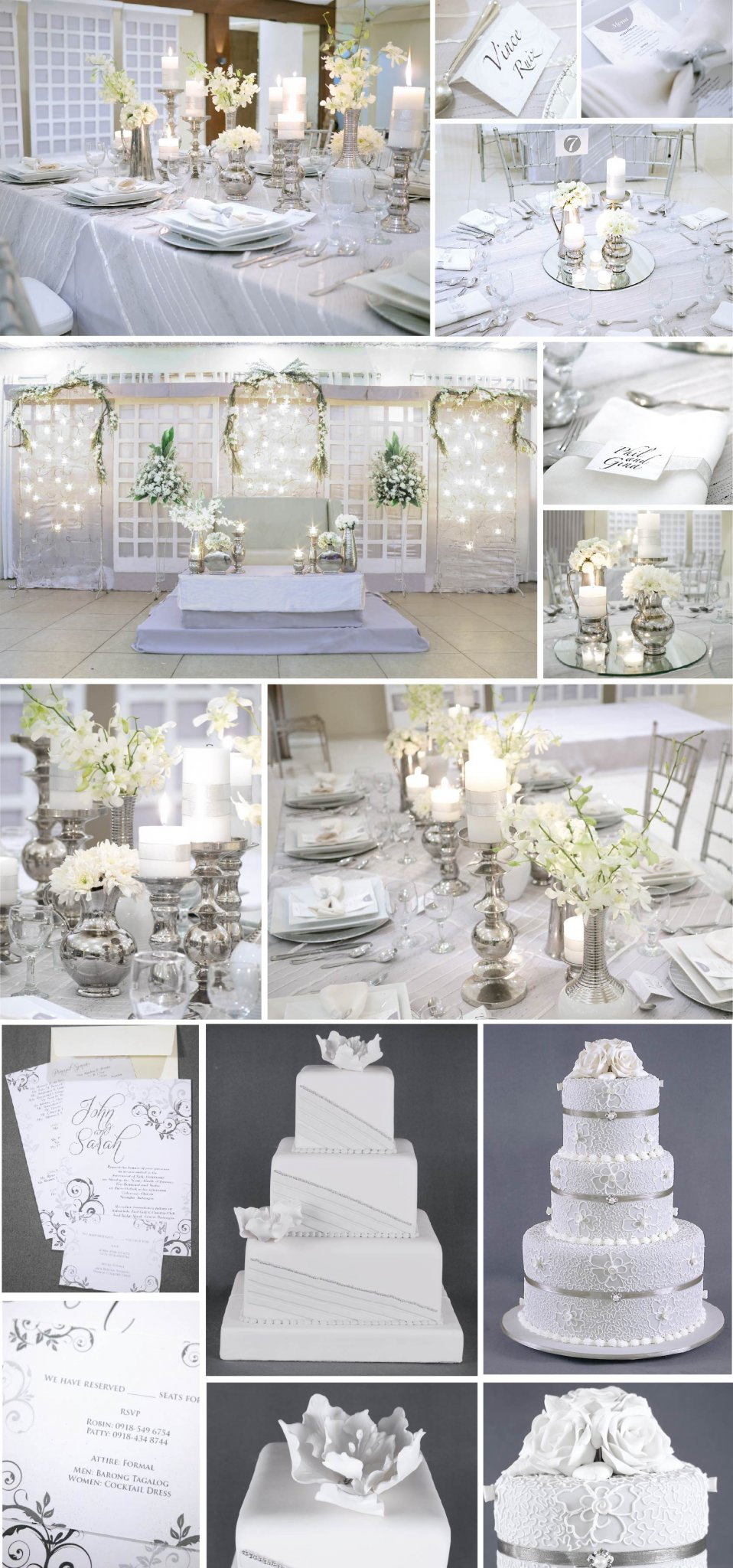 Candle light silver white hizon 39 s catering catering for Candle design for debut