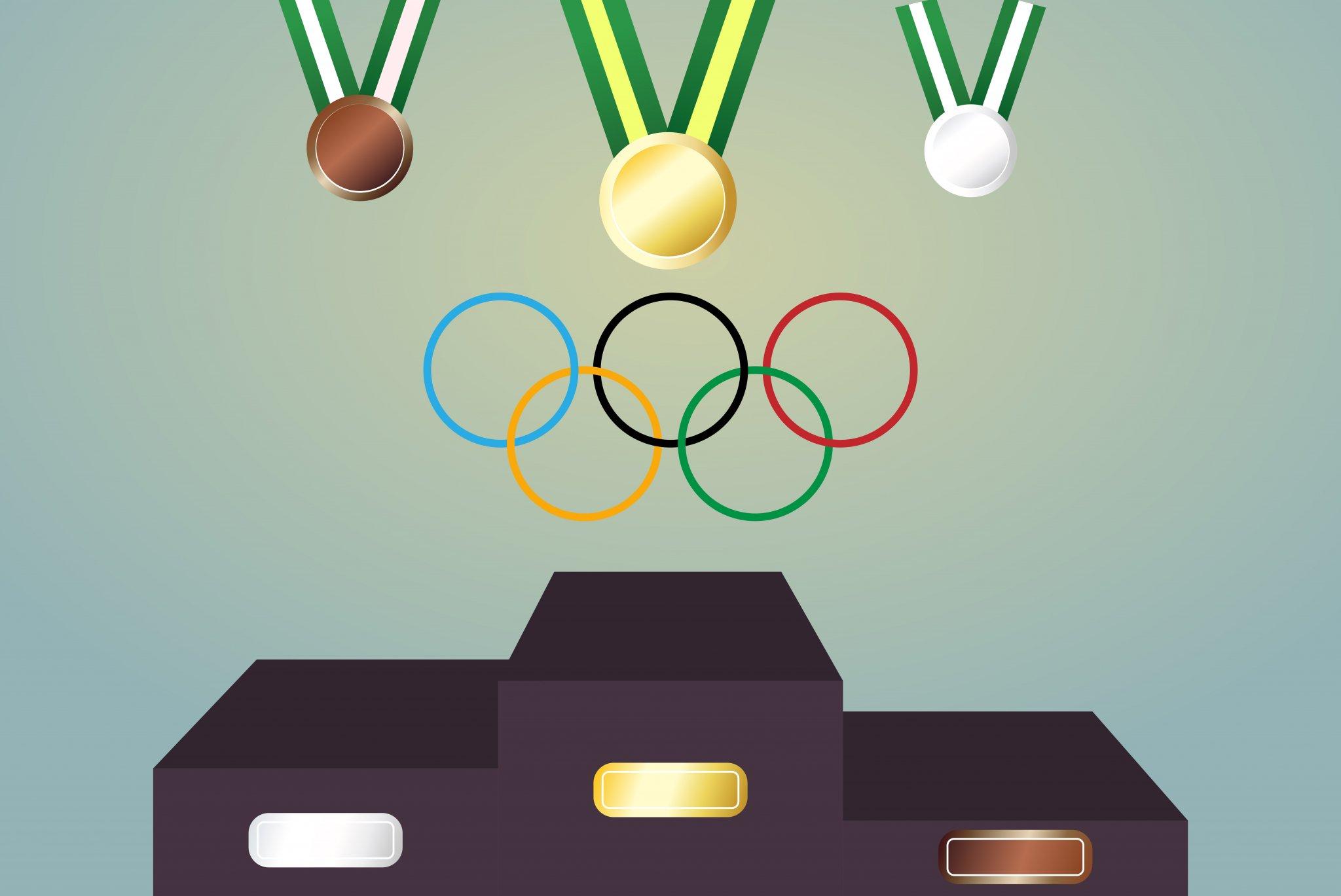 OLYMPIC_cartoon character in podium