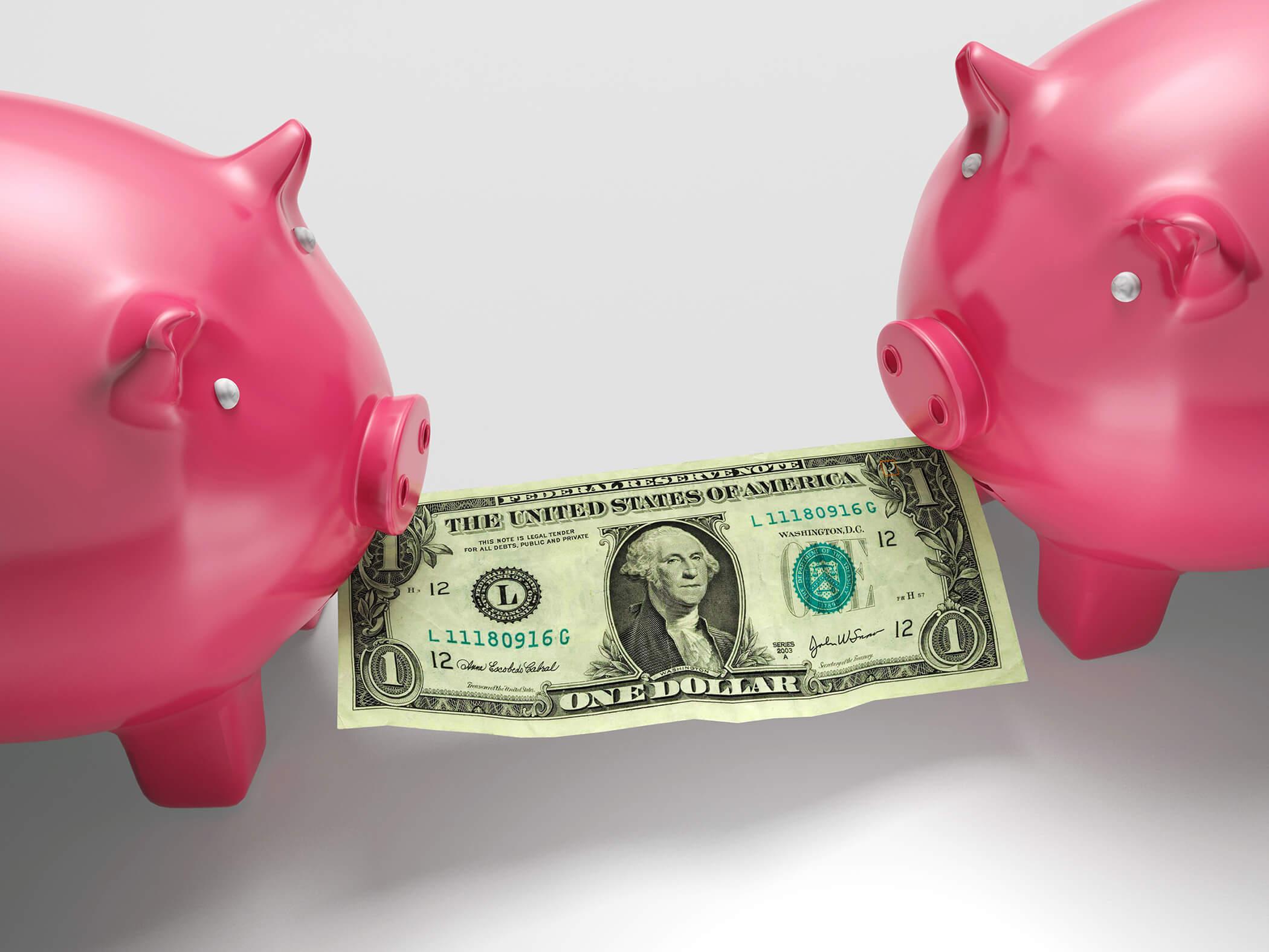 Piggybanks Eating Money Shows Financial Crisis Or Monetary Fraud