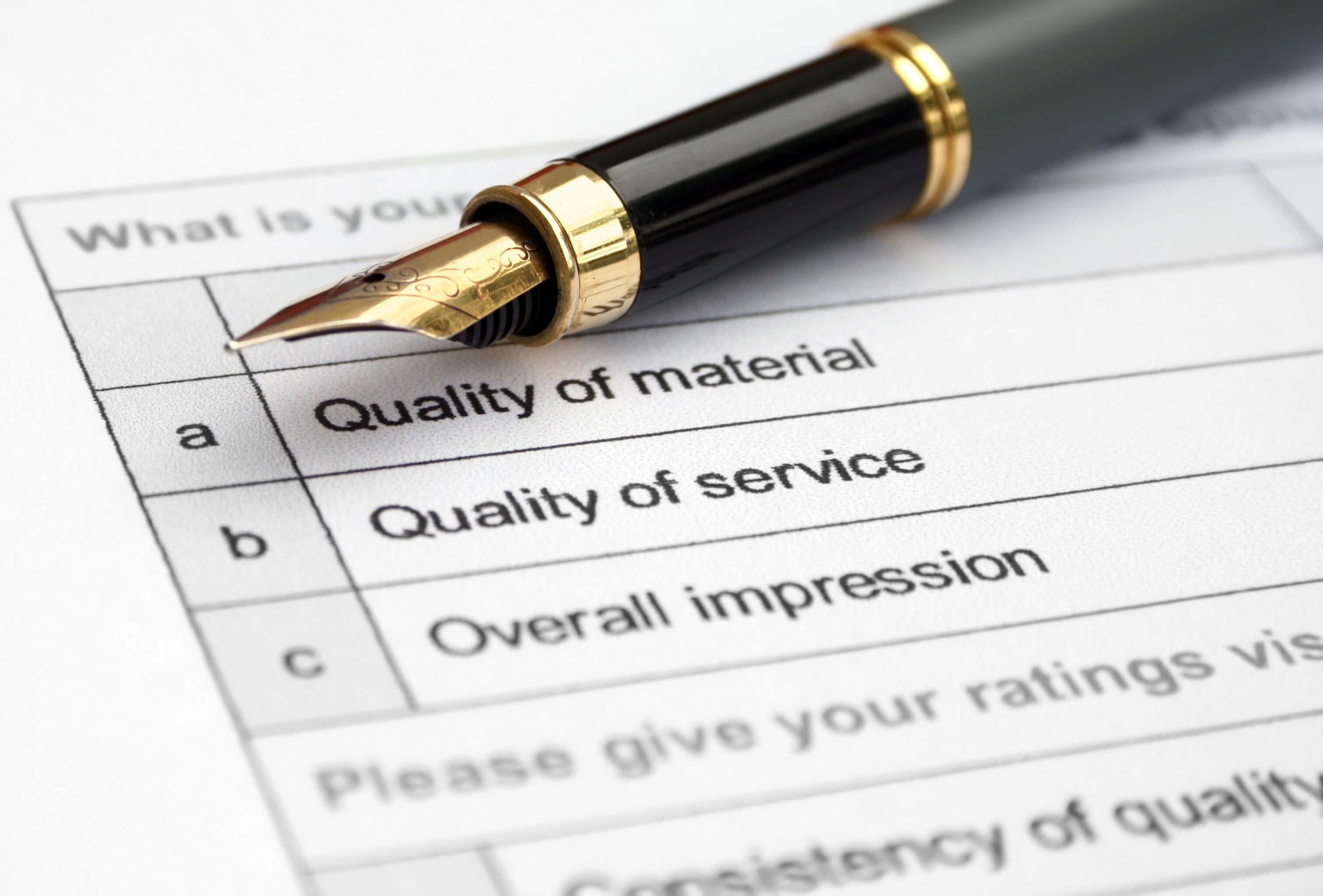 Quality survey form