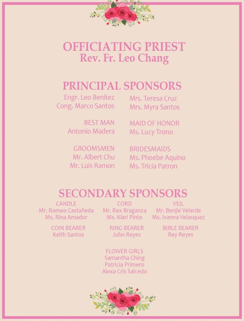 The anatomy of a wedding invitation hizons catering the invitation the usual wedding officiant is a clergy judge or a mayor make sure you get the officiants title right the proper spelling of the stopboris Image collections